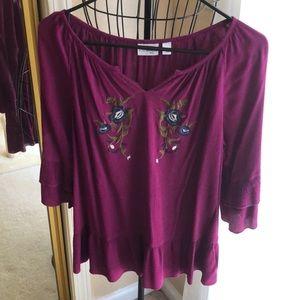 Kim Rogers petite collection purple peasant top